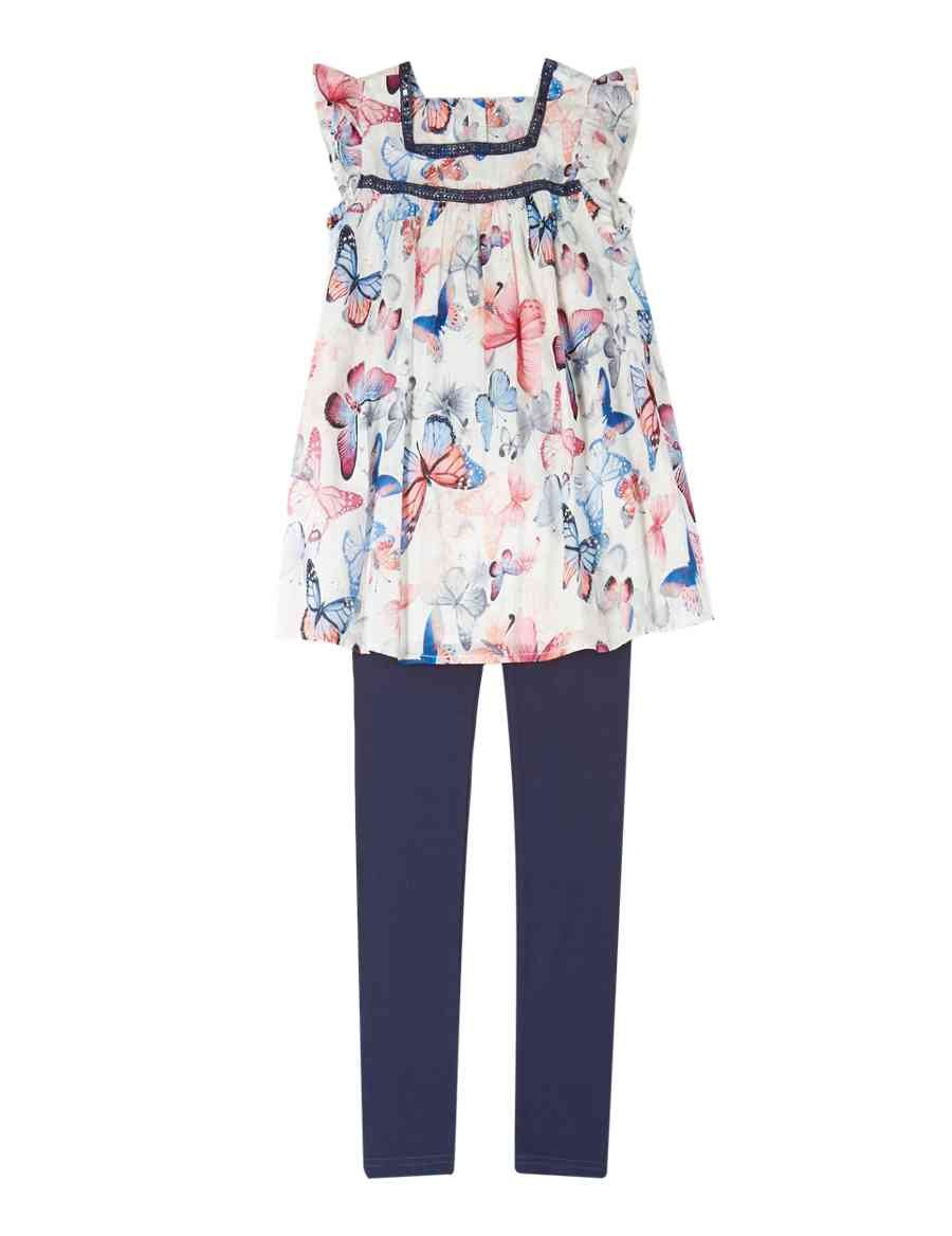 c5cf43c3d84 2 Piece Cotton Rich Butterfly Print Tunic & Leggings Outfit (5-14 Years)    M&S