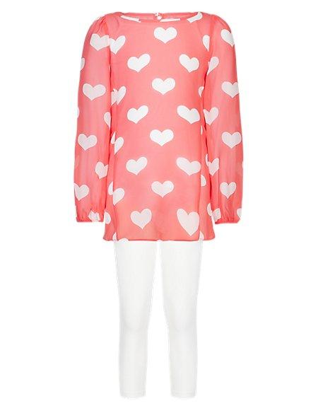 3 Piece Chiffon Dress, Leggings & Camisole Girls Outfit (5-14 Years)