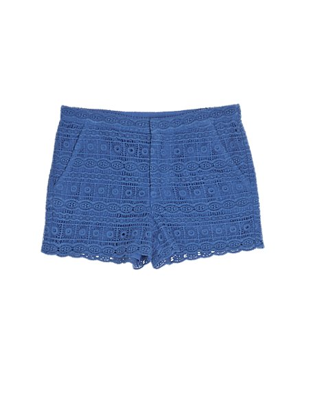 Pure Cotton Lace Shorts (5-14 Years)