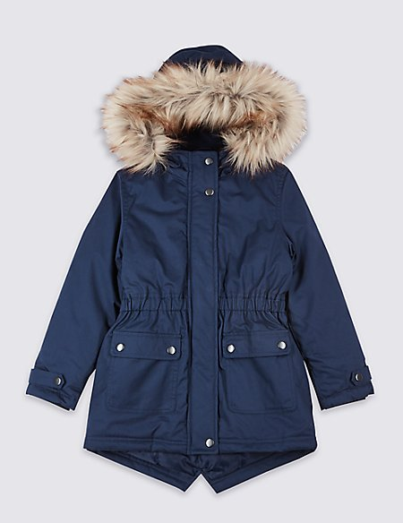 Pure Cotton Faux Fur Parka With Stormwear™ (3-16 Years)