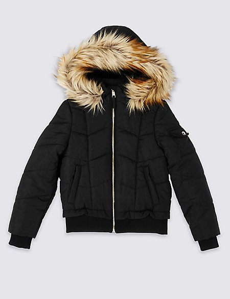 Faux Fur Zipped Through Jacket With Stormwear™ (3-16 Years)