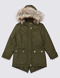 Pure Cotton Faux Fur Parka with Stormwear™ (3-14 Years)