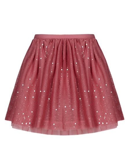 Sequin Embellished Mesh Tutu Skirt