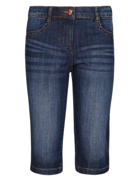 Cotton Rich Washed Look Denim Shorts