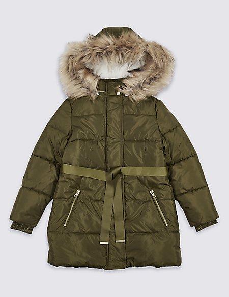 Faux Fur Zipped Through Coat with Stormwear™ (3-14 Years)