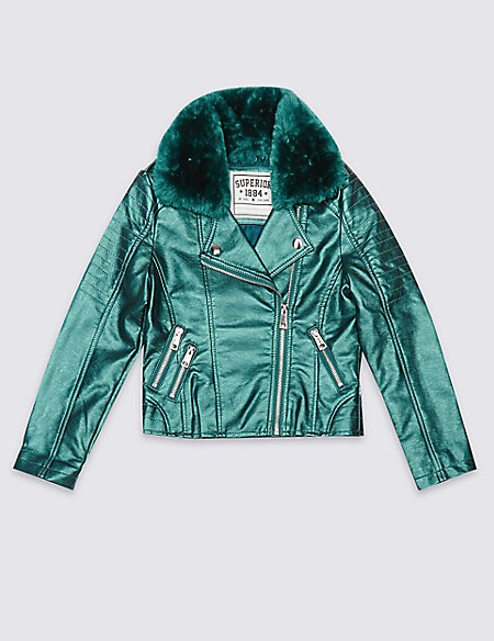 Faux Fur Zipped Through Jacket with Stormwear™ (3-14 Years)