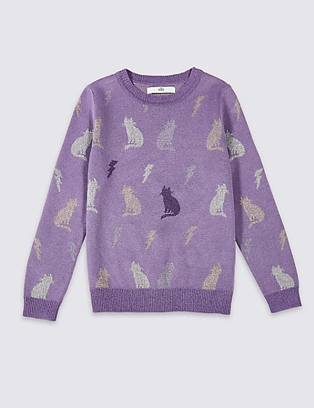Cotton Blend Cat Jumper (3-16 Years)