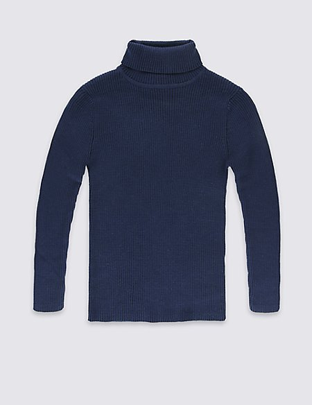 Pure Cotton Roll Neck Jumper (5-14 Years)