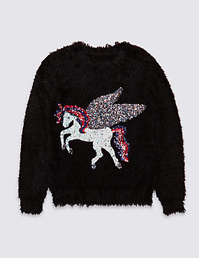 Sequin Unicorn Jumper (3-16 Years)
