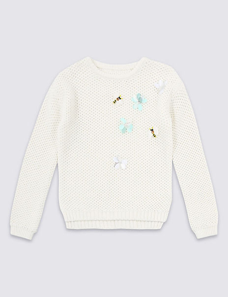 Pure Cotton Embellished Knit Jumper (4-16 Years)