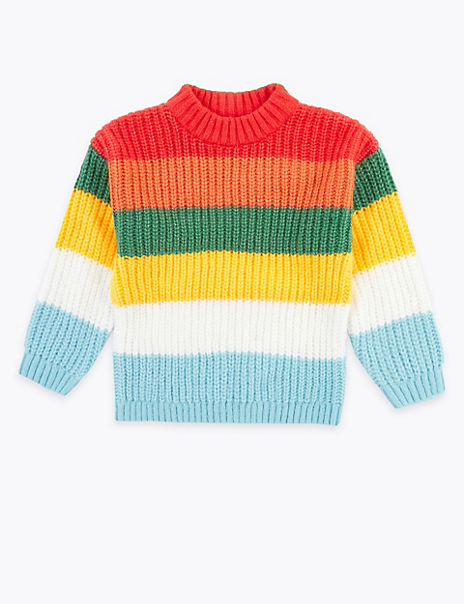 Rainbow Striped Knitted Jumper (6-16 Years)