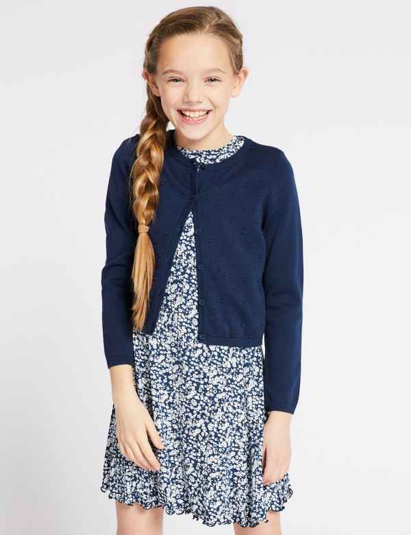 cda23a3a1a550 Pure Cotton Bobble Cardigan (3-16 Years)