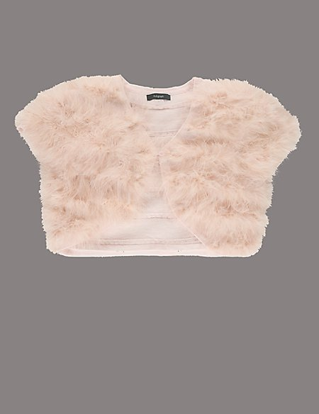 Pure Cotton Marabou Cape Cardigan (5-14 Years)
