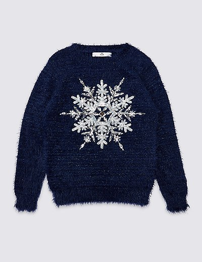 Snowflake Knitted Jumper 3 16 Years Marks Spencer London