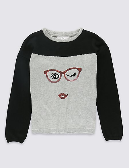 Pure Cotton Sequin Face Jumper with StayNEW™ (5-14 Years)