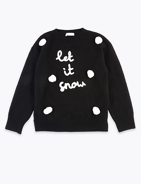 Let It Snow Christmas Slogan Mini Me Jumper (4-16 Years)