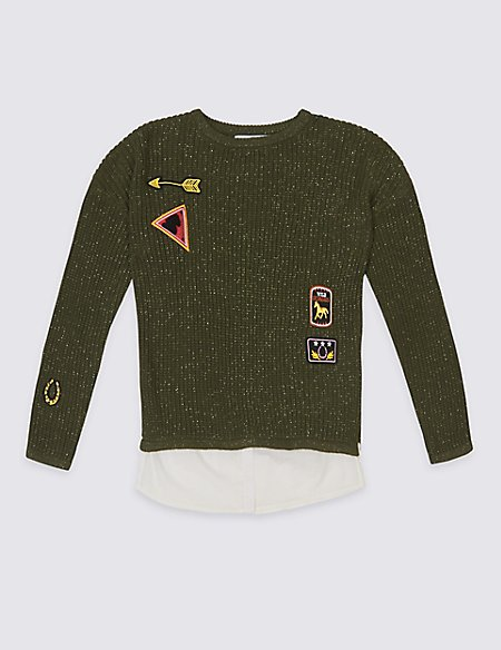 Cotton Rich Embroidered Jumper (3-14 Years)