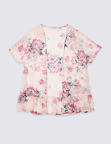 Floral Print Frill Hem Kimono (3-16 Years)