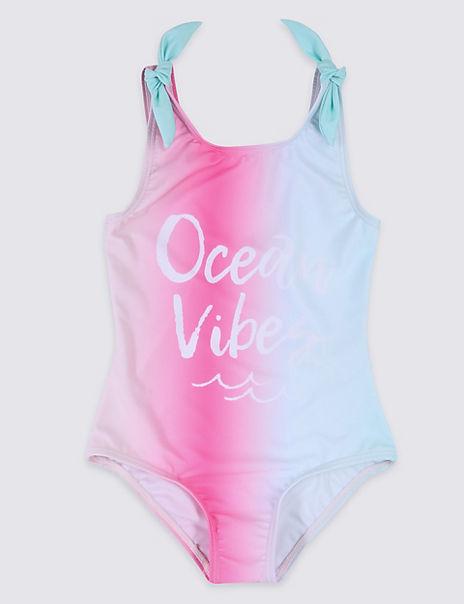 Sustainable Ocean Vibe Slogan Swimsuit (3-16 Years)