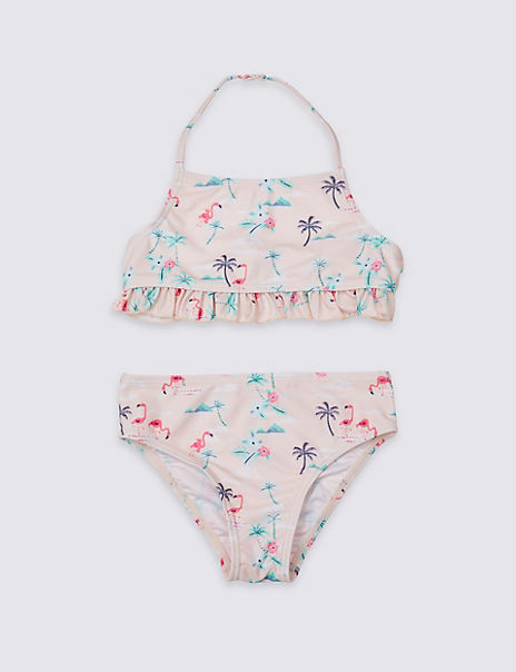 Sustainable Flamingo Print Bikini Set (3-16 Years)