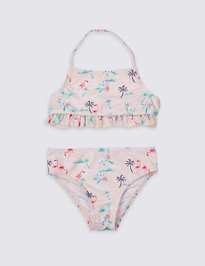 009cf2b2d3d5 Bikini sostenible con estampado de flamencos (3-16años ...