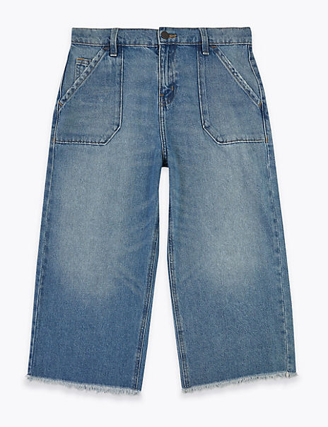 Cotton Wide Legged Cropped Jeans (6-16 Years)
