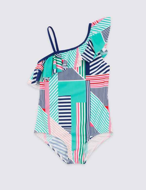 9ff58c10eb Striped One Shoulder Frill Swimsuit (3-16 Years)