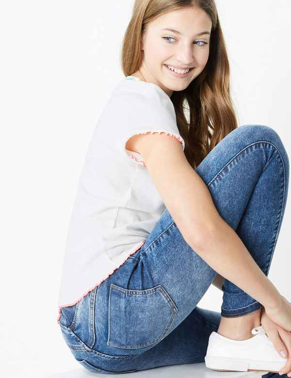 girls M/&S crop ankle JEANS frayed ripped NEW ages 7-8 and 8-9 FREE POST
