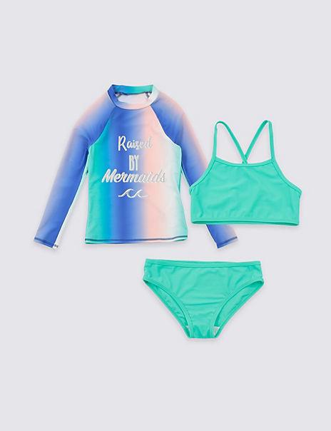 3 Piece Mermaid Swimsuit Set (3-16 Years)
