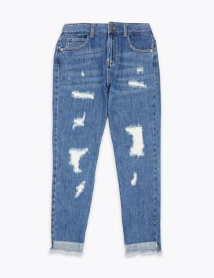 Pure Cotton Relaxed Ripped Jeans (6-16 Yrs)