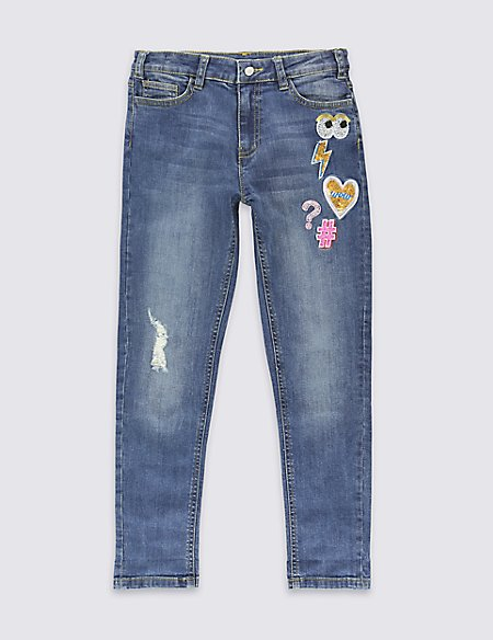 Cotton Rich with Stretch Embroidered Badge Jeans (5-14 Years)