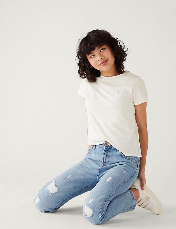 Mom Fit Light Denim Ripped Jeans (6-16 Yrs)