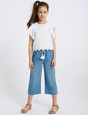 Denim Paper Bag Waist Culottes (3-16 Years)