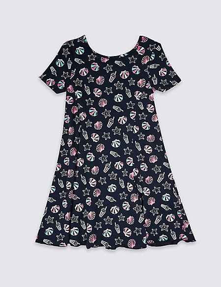 All Over Shell Print Dress (3-16 Years)