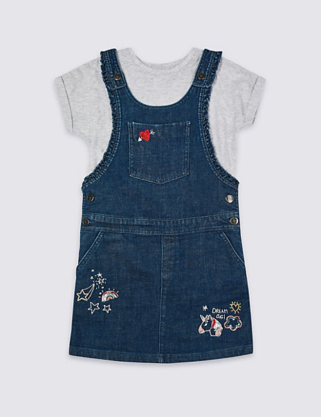 2 Piece Badge Pinny & Top Outfit (3-16 Years)