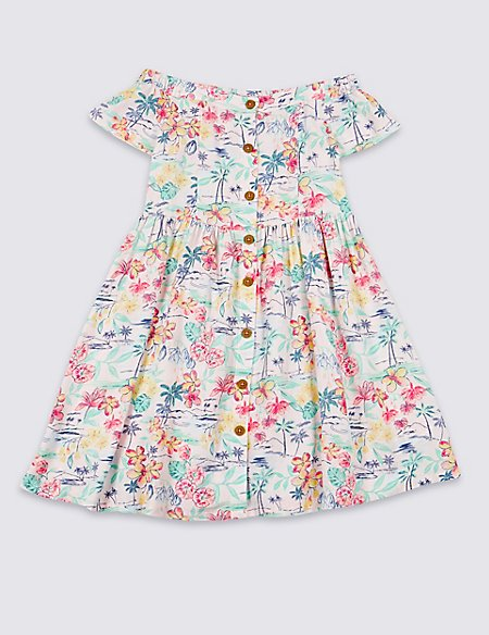 Palm Print Bardot Dress (3-16 Years)