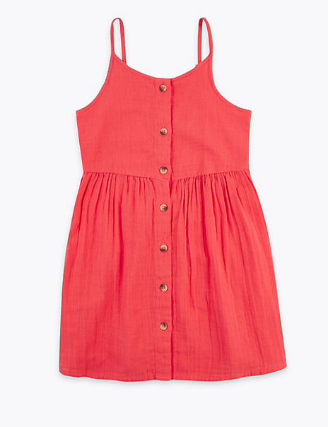 Pure Cotton Button Through Dress (6-16 Years)