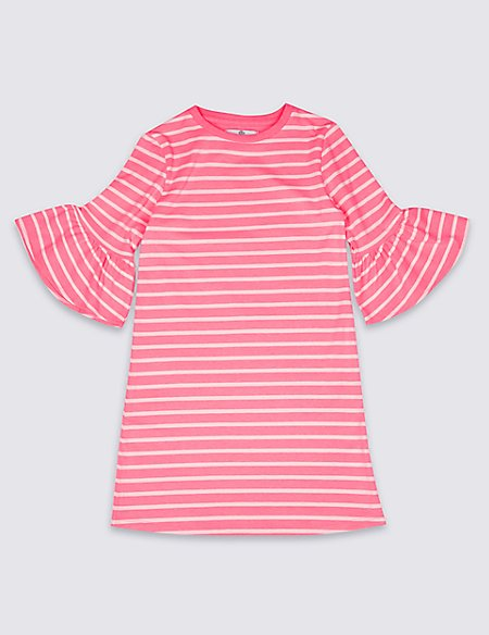 Bright Pink Striped Fluted Sleeve Dress (3-14 Years)