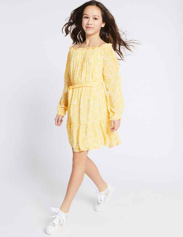 eb52f08453c Woven Bardot Tie Waist Dress (3-16 Years)