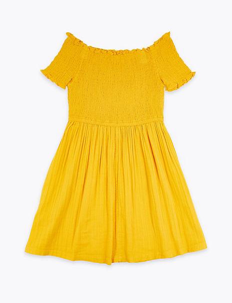 Pure Cotton Bardot Dress (6-16 Years)