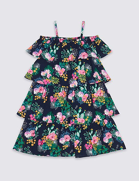 Floral Print Bardot Dress (3-16 Years)