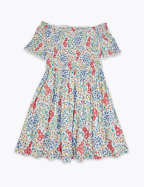 Pure Cotton Floral Print Dress (6-16 Years)