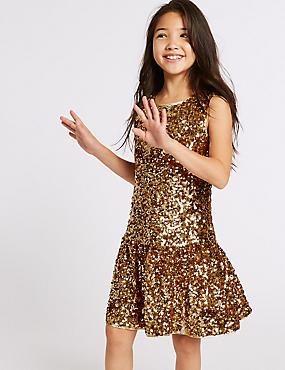Sequin Dress (3-16 Years), GOLD, catlanding