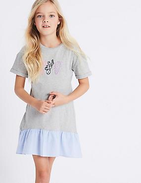 Dropped Hem Pure Cotton Dress (3-16 Years)