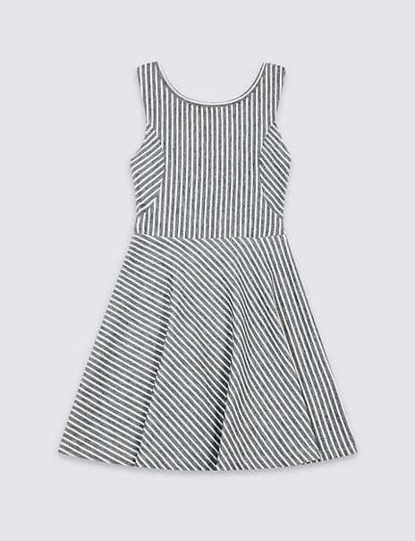 Cotton Striped Dress with Stretch (3-16 Years)
