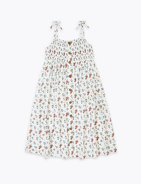 Pure Cotton Ditsy Print Midi Dress (6-16 Years)