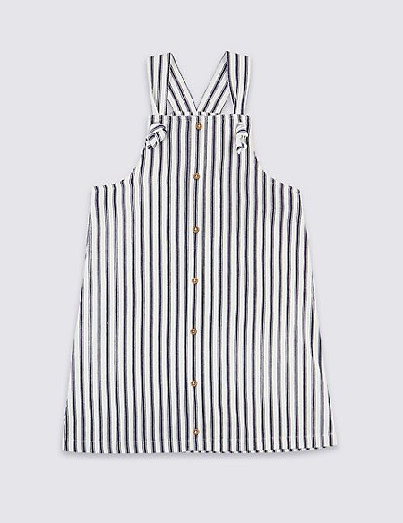 Pure Cotton Striped Pinafore (3-16 Years)