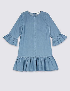 Pure Cotton Dress (3-16 Years), DENIM, catlanding