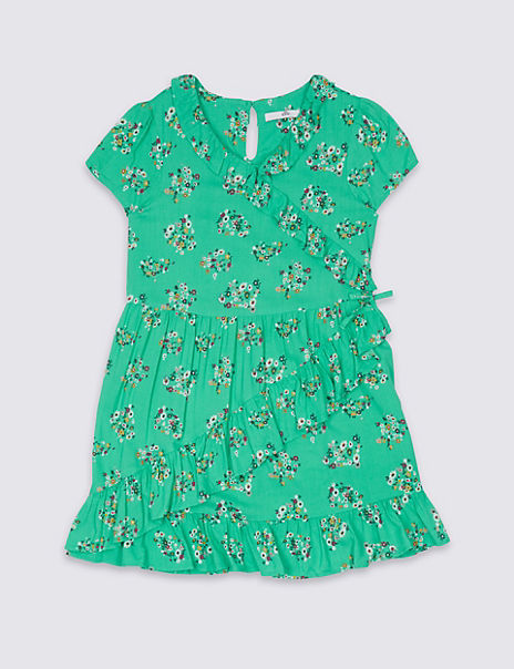 All Over Floral Print Wrap Dress (3-16 Years)