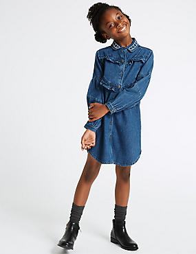 Frill Denim Dress (3-16 Years)